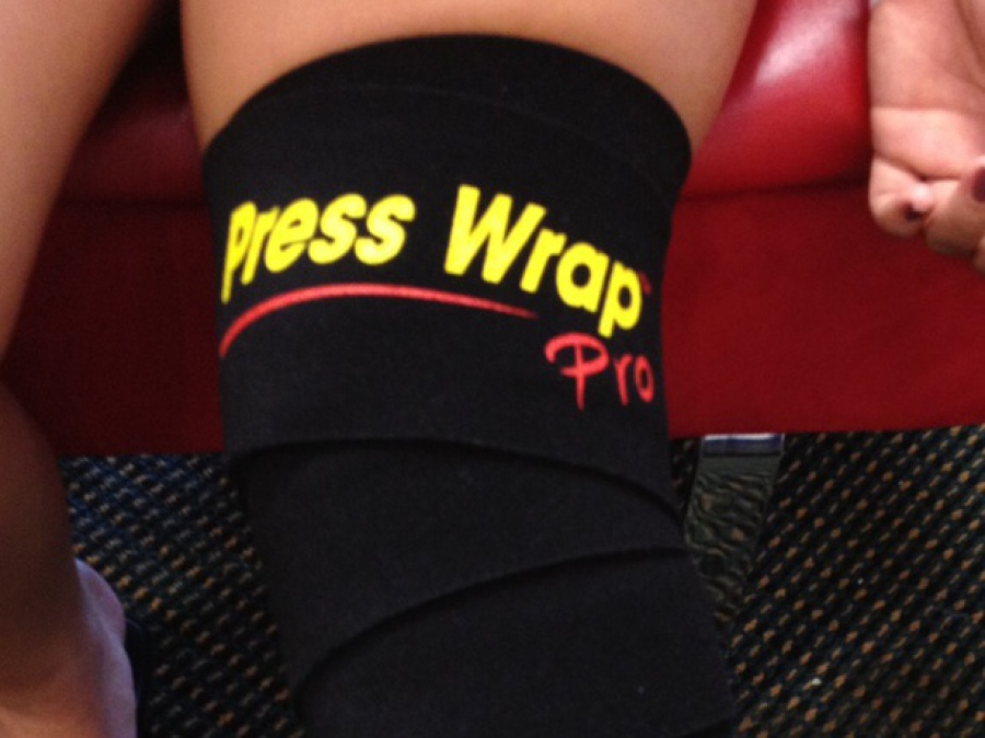 Black Press Wrap bandage around individuals knee